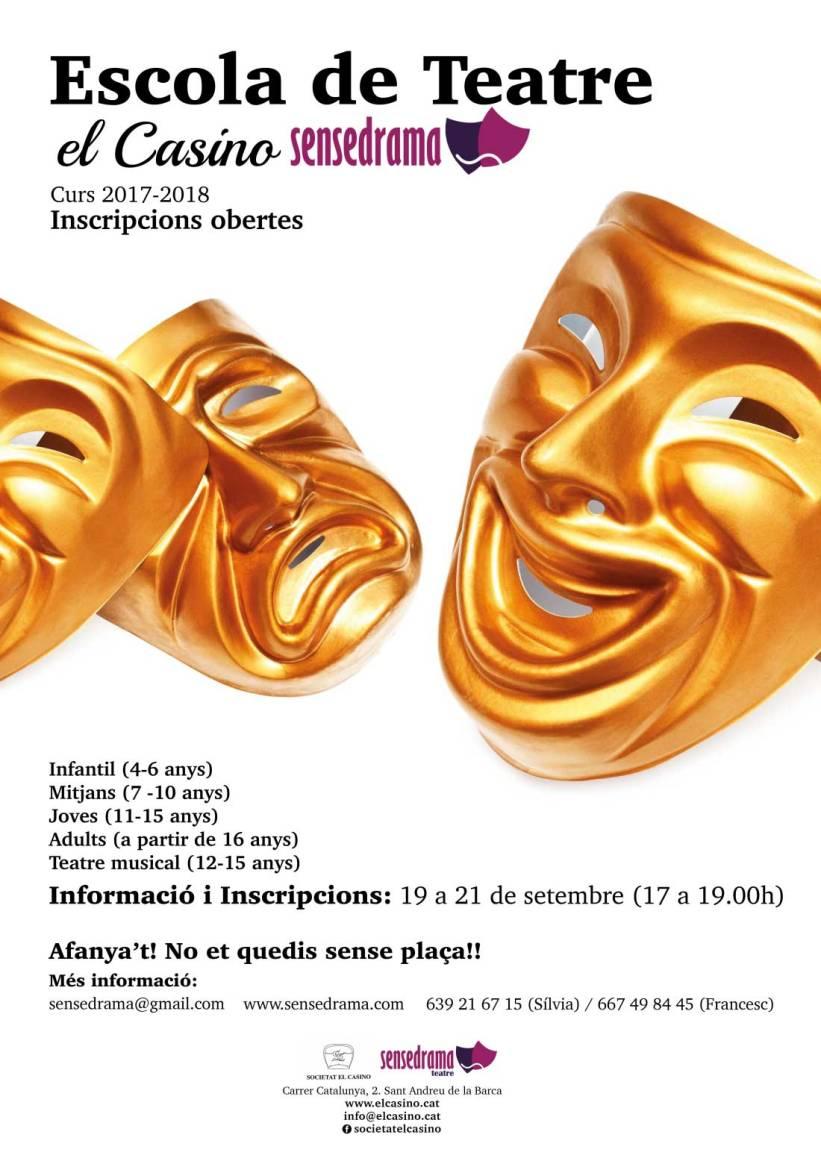 Cartell Inscripcions 2017-2018 Escola de Teatre El Casino – Sensedrama
