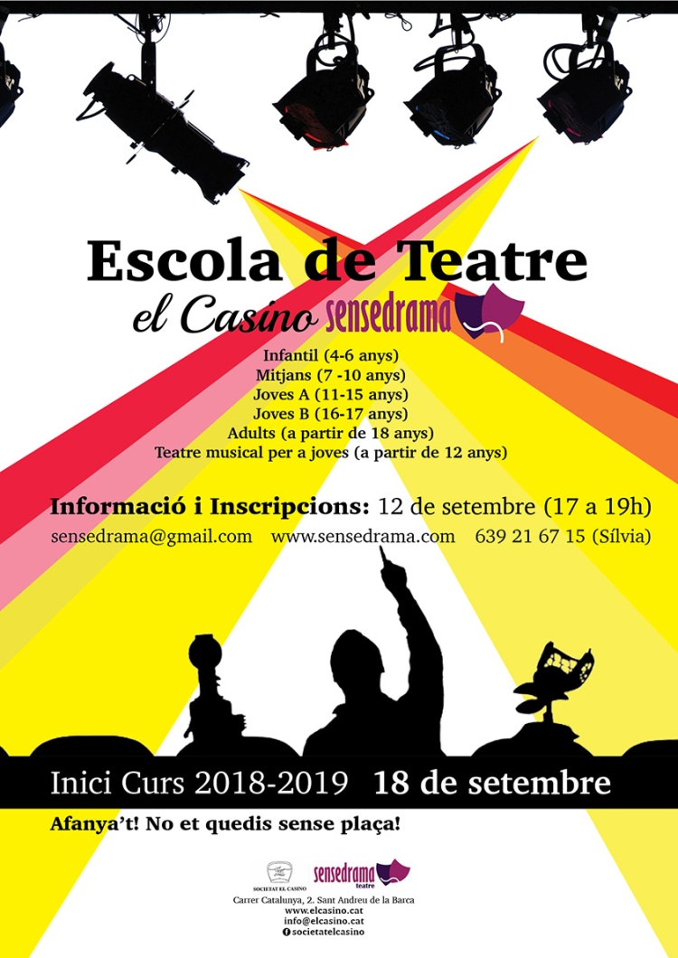Cartell Escola de Teatre El Casino Sensedrama - Curs 2018-2019