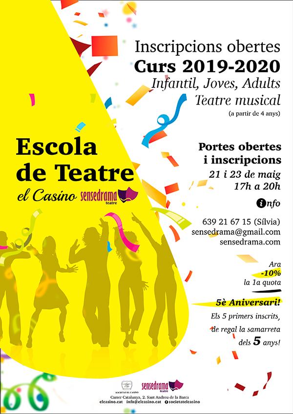 Cartell Escola de Teatre El Casino Sensedrama – Curs 2019-2020